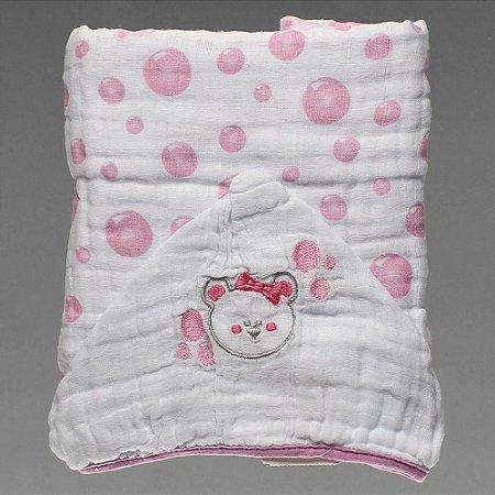 Toalha de Fralda com Capuz Ursa Bolha Rosa Papi Soft