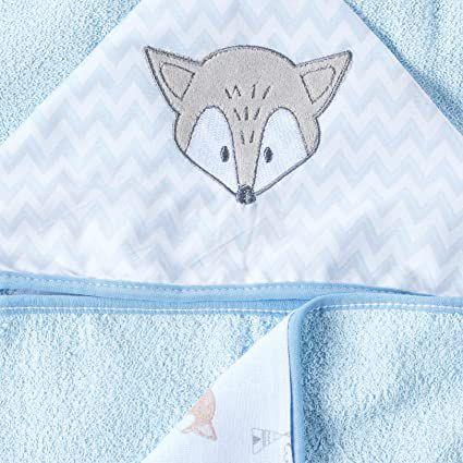 Toalha de Banho com Capuz Raposa Azul Baby Soft
