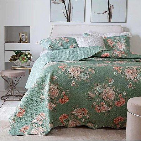 Colcha Bouti Casal Floral Verde Rozac
