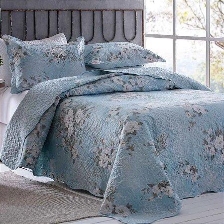 Colcha Bouti Queen Floral Azul Rozac