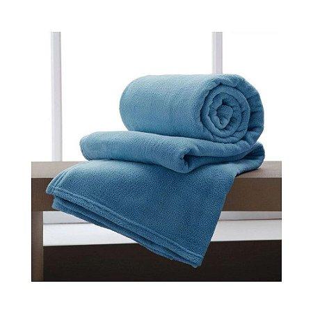 Manta Microfibra Casal Azul Claro Corttex