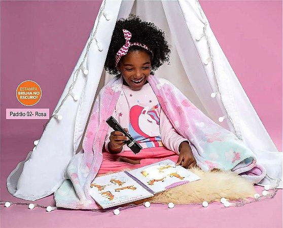 Manta Fleece Kids Glow Dupla Face Brilha no Escuro Rosa Lepper