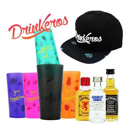Kit Completo Drinkeros Coqueteleiras Boné Miniaturas