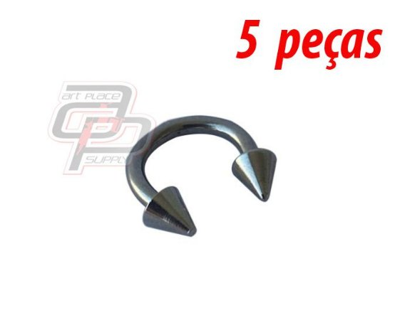 Piercing Circular Barbell Spike - 10mm - Espessura 1.6  (5 peças)