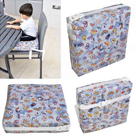 Assento Almofada de Elevação Infantil Criança - Estampa Unicórnio Azul