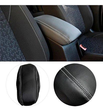 Capa Forro Acolchoado Apoio Descansa Braço Gm Chevrolet Onix Plus - Preto com Costura Branca