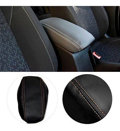 Capa Forro Acolchoado Apoio Descansa Braço Gm Chevrolet Onix Plus - Preto com Costura Caramelo