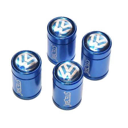 Kit Bicos de Válvula de Pneu Tampa Roda Carro Volkswagen Sterk - Azul