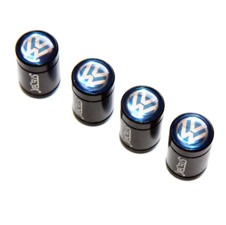 Kit Bicos de Válvula de Pneu Tampa Roda Carro Volkswagen Sterk - Preto