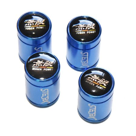 Kit Bicos Válvula de Pneu Tampa Roda Carro Honda Mugen Power Sterk - Azul