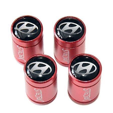 Kit Bicos de Válvula de Pneu Tampa Roda Carro Hyundai Sterk - Vermelho