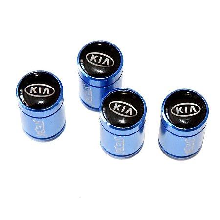 Kit Bicos de Válvula de Pneu Tampa Roda Carro Kia Sterk - Azul