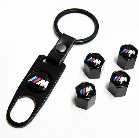 Kit Bicos Válvula de Pneu Tampa Roda Carro BMW M Motorsport Antifurto