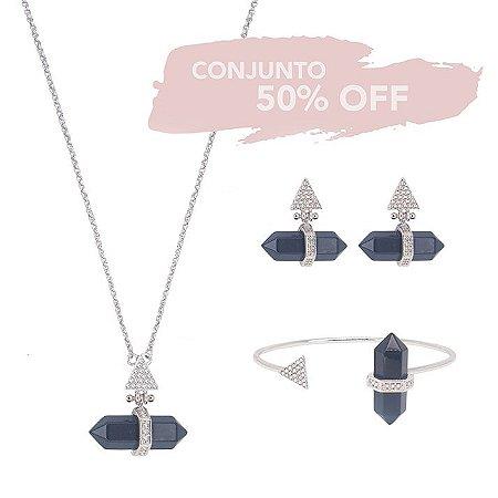 Conjunto Prisma Triângulo  Obsidiana