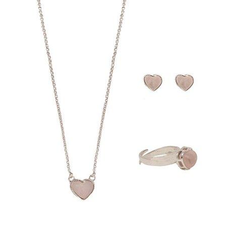 Conjunto Coração Mineral P  Quartzo Rosa
