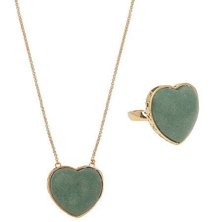 Conjunto Coração Mineral G Quartzo Verde