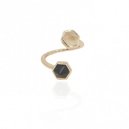 Anel Petit Duplo Proteção Obsidiana e Cristal de Quartzo