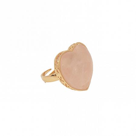 Anel Coração Pedra G Quartzo Rosa