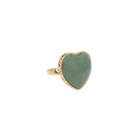 Anel Coração Pedra G Quartzo Verde