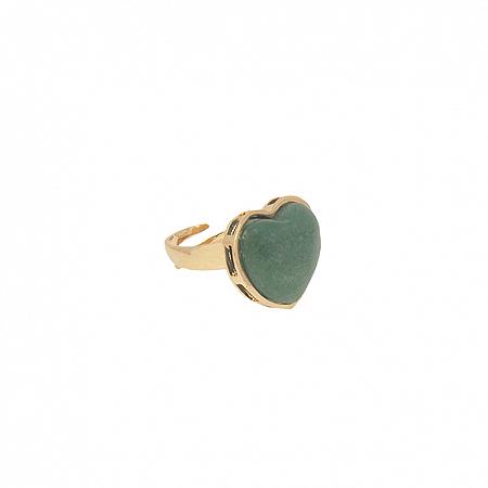 Anel Coração Pedra M Quartzo Verde