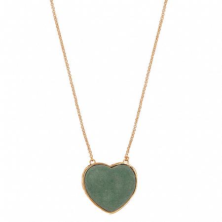 Colar Coração Pedra G Quartzo Verde
