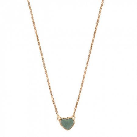 Colar Coração Pedra P Quartzo Verde