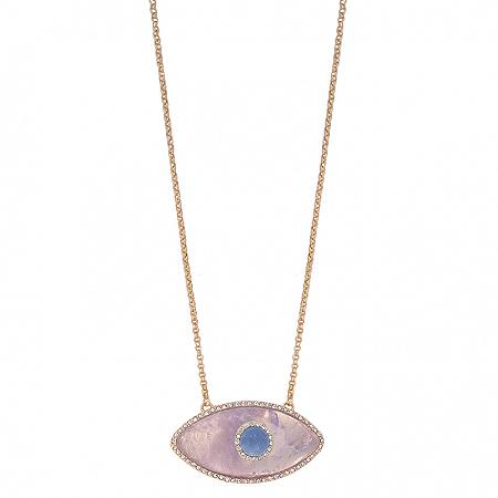 Colar Olho Combinado G Ametista Quartzo Azul