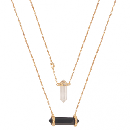Escapulário Prisma Proteção Obsidiana e Cristal de Quartzo