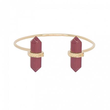Bracelete Prisma Duplo Jaspe Vermelha