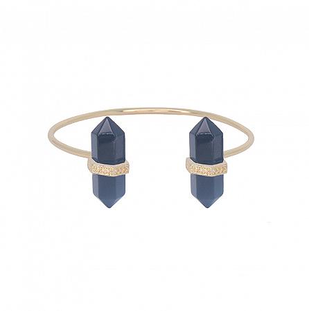 Bracelete Prisma Duplo Obsidiana
