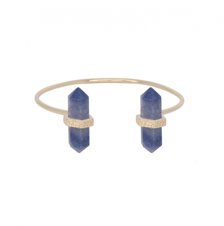 Bracelete Prisma Duplo Quartzo Azul