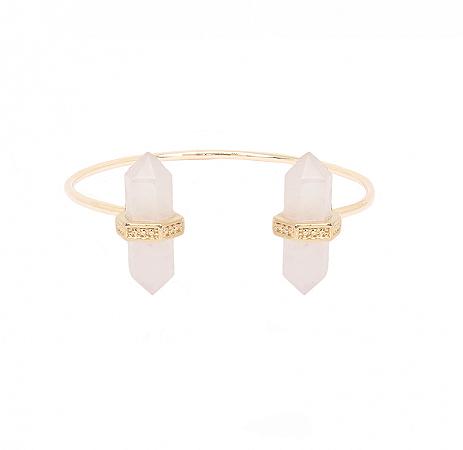 Bracelete Prisma Duplo Quartzo Rosa