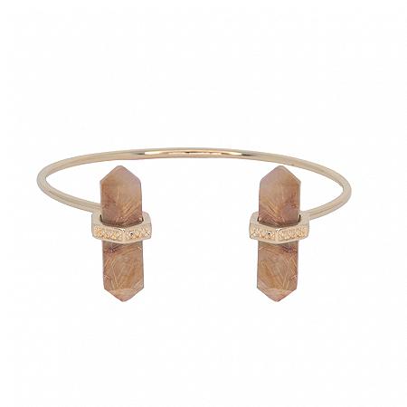 Bracelete Prisma Duplo Quartzo Rutilado