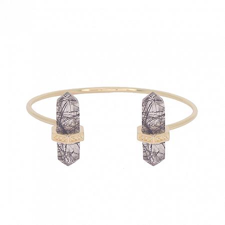 Bracelete Prisma Duplo Prisma Quartzo Turmalinado