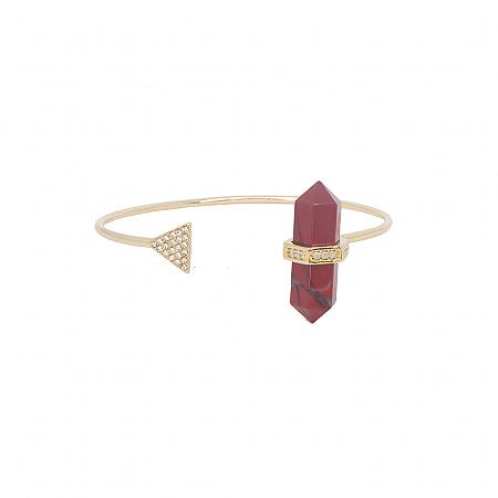 Bracelete Prisma Triângulo Jaspe Vermelha