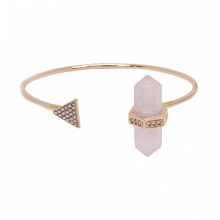 Bracelete Prisma Triângulo Quartzo Rosa