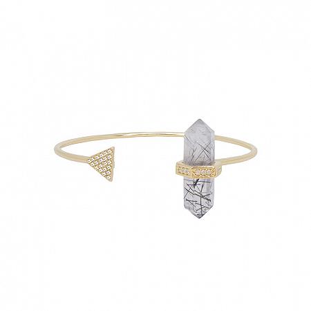 Bracelete Prisma Triângulo Quartzo Turmalinado