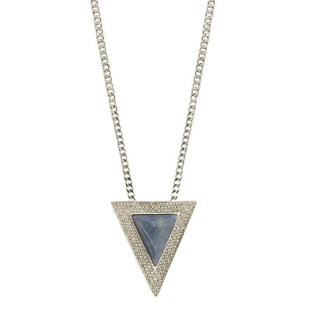 Colar Triângulo Água Quartzo Azul