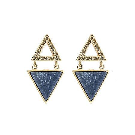 Brinco Triângulo Duplo Quartzo Azul