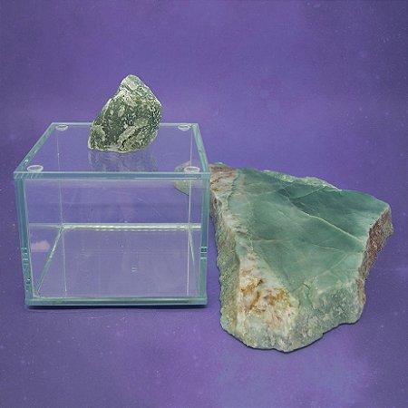 Caixa de Pedra Bruta P Quartzo Verde