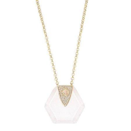 Colar Hexagono Pedra Cristal de Quartzo