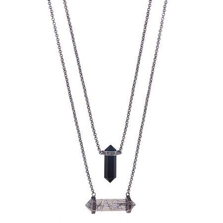 Escapulário Unissex Proteção Obsidiana e Quartzo Turmalinado