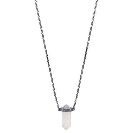 Colar Mini Prisma Unissex Cristal de Quartzo
