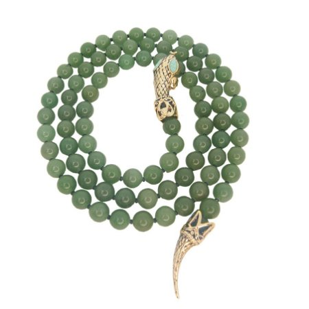 Colar Serpente Gravata Pedra Quartzo Verde e Amazonita
