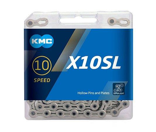 Corrente Kmc X-10sl Prateado 10v Vazado 1/2x11/128 116L