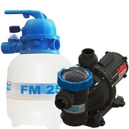 Conjunto Filtro FM-25 e Bomba 1/4cv BMC-25 p/ piscinas de até 19 mil litros