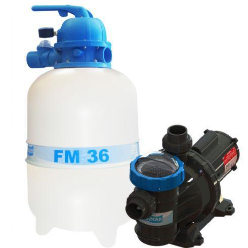 Conjunto Filtro FM-36 e Bomba 1/3cv BMC-33 Mono p/ piscinas de até 40 mil litros