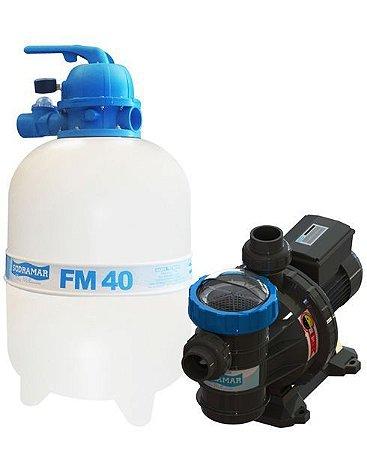 Conjunto Filtro FM-40 e Bomba 1/2cv BMC-50 Mono p/ piscinas de até 50 mil litros