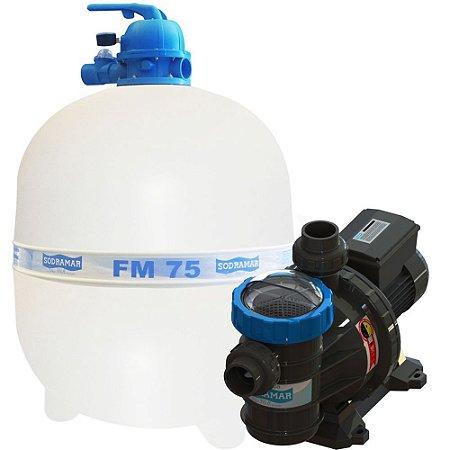 Conjunto Filtro FM-75 e Bomba 1,5cv BMC-150 Mono p/ piscinas de até 176 mil litros