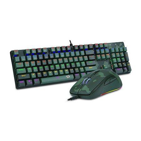 Kit Gamer Redragon Teclado e Mouse Dark Green